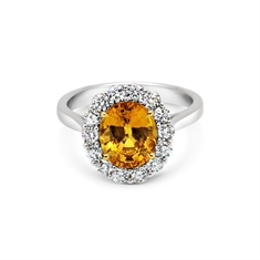Oval Yellow Sapphire & Diamond Claw Set Cluster Ring