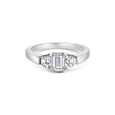 Emerald Cut Diamond Single Stone With Trapeze Cut Diamond Shoulders