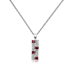 Ruby Square & Brilliant Cut Diamond Mosaic Pendant