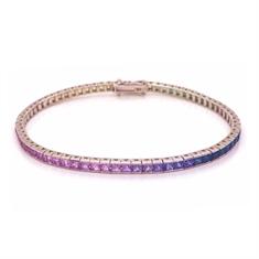 Channel Set Rainbow Sapphire Line Bracelet 7.18ct