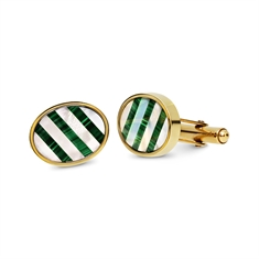 Oval Mother Of Pearl & Malachite Striped Cufflinks
