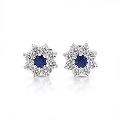 Sapphire & Diamond Claw Set Cluster Stud Earrings
