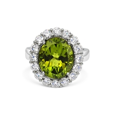 Oval Peridot & Brilliant Cut Diamond Micro Set Cluster Ring