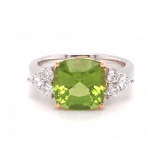 Square Peridot Cushion Cut & Diamond Claw Set Three Stone Dress Ring