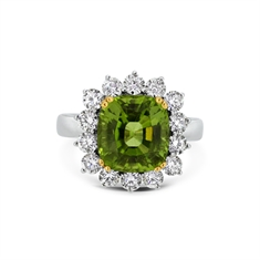 Peridot Cushion Cut Cluster Ring