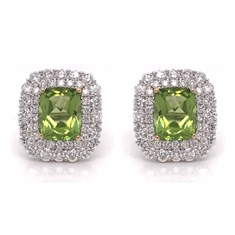 Peridot & Diamond Double Cluster Earrings
