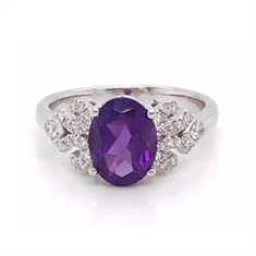 Oval Amethyst & Diamond Accented Dress Ring