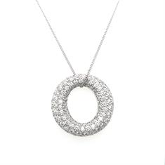 Diamond O Open Circle Pendant