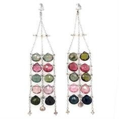 Tourmaline Pearl & Diamond Chandelier Drop Earrings