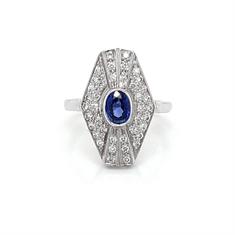 Sapphire Diamond Art Deco Style Tablet Ring