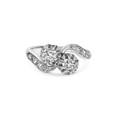 Brilliant Cut 2 Stone Diamond Cross Over Ring With Old Cut Diamond Shoulders