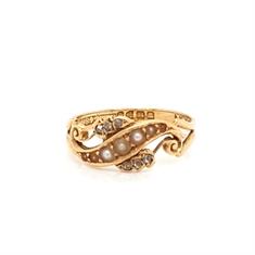 Pearl & Diamond Swirl Ring