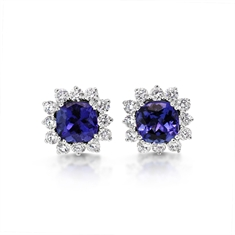 Claw Set Cushion Cut Tanzanite & Diamond Cluster Stud Earrings