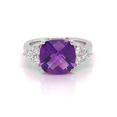 Amethyst Dress Ring With Trefoil Brilliant Cut Diamond Shoulders