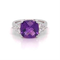 Amethyst Dress Ring With Trefoil Brilliant Cut Diamond Shoulders