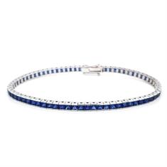 Sapphire Princess Cut Channel Set Line Bracelet 8.36ct