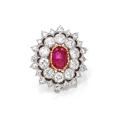 Ruby & Diamond Cluster Cocktail Ring 1.50ct