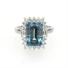 Octagon Aqua & Brilliant Cut Diamond Cluster Ring