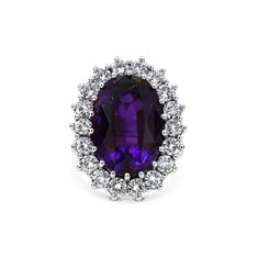 Oval Amethyst & Brilliant Cut Diamond Cluster Ring