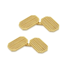 Octagonal 18ct Yellow Gold Pin Striped Cufflinks