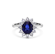 Claw Set Oval Sapphire & Brilliant Cut Diamond Engagement Ring