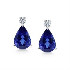 Pear Shape Tanzanite & Brilliant Cut Diamond Drop Earrings