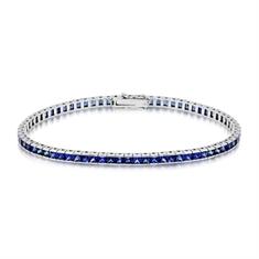 8.59ct French Cut Sapphire Line Bracelet