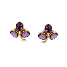 Amethyst Trefoil Rub-Over Set Earrings