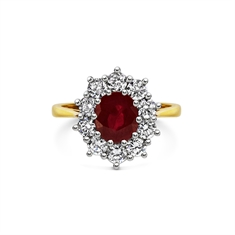 Oval Ruby & Brilliant Cut Claw Set Cluster Engagement Ring