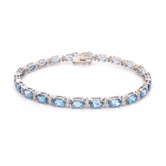 Oval Aquamarine & Brilliant Cut Diamond Line Bracelet