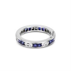Full Eternity Ring Sapphire French Cut & Brilliant Cut Diamond