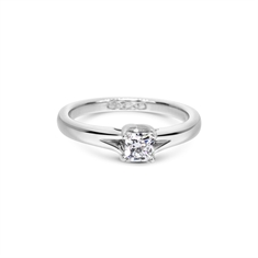 Single Stone Cushion Cut Diamond Engagement Ring