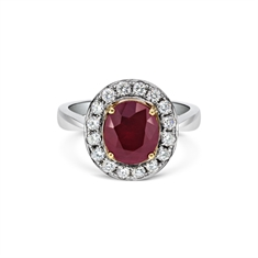 Grain Set Oval Ruby & Diamond Cluster Ring