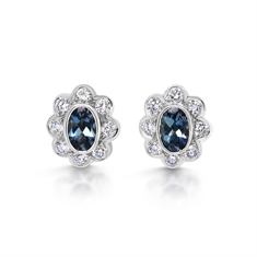 Aqua & Diamond Oval Cluster Stud Earrings