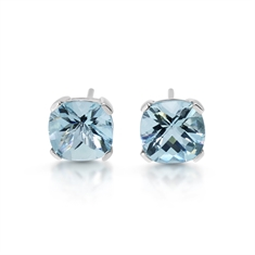Aqua Claw Set Cushion Cut Stud Earrings
