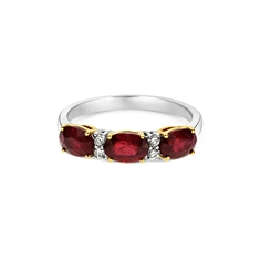 Oval Ruby & Diamond Claw Set Half Eternity Ring