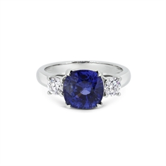 Cushion Cut Sapphire & Diamond Three Stone