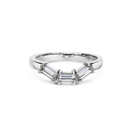 Claw Set Baguette Diamond Fitted Wedding Band