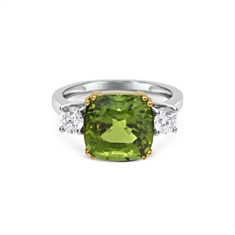 Cushion Cut Peridot & Round Brilliant Cut  Claw Set Three Stone