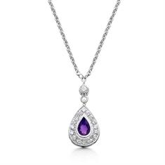 Amethyst Pear Shape & Diamond Cluster Pendant & Earring Suite