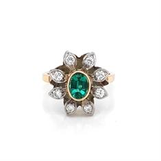 Oval Emerald & Diamond Vintage Flower Dress Ring