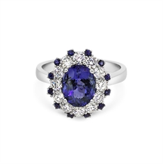 Tanzanite & Diamond Cluster Ring With Sapphire Accents