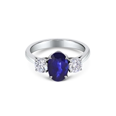 Sapphire Oval & Brilliant Cut Diamond 3 Stone Ring