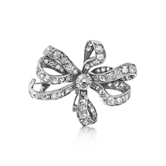 Victorian Diamond Set Ribbon Brooch