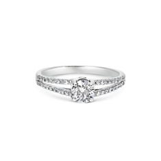 Brilliant Cut Diamond Single Stone With Split Micro Set Diamond Shoulders