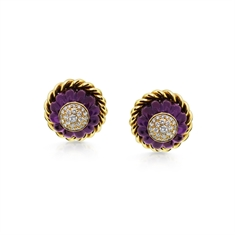Boodles Carved Amethyst & Diamond Ear Clips