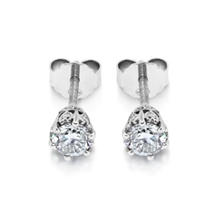 Old Cut Diamond Studs With Diamond Set Collets
