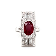 Art Deco Ruby Diamond Tablet Ring
