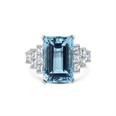Octagon Aquamarine & Princess Cut Diamond Dress Ring