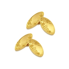 Marquise Shaped Floral Engraved 9ct Yellow Gold Cufflinks